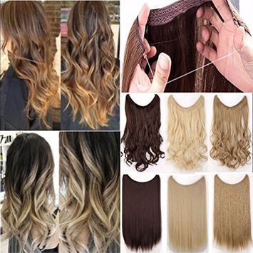 Long 20-24inch Straight/Wavy Curly Secret Wire Natural Hidden Invisible Wire Synthetic Hairpieces No Clips Hair Extensions Adjustable Transparent Wire (20