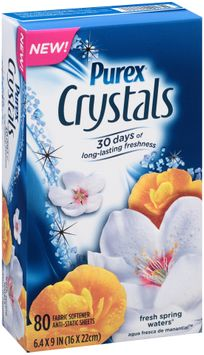 Purex® Crystals Fresh Spring Waters® Fabric Softener Anti-Static Sheets 80 ct. Box