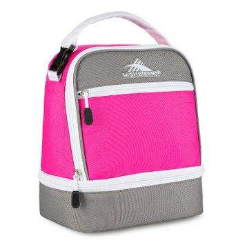 High Sierra Stacked Compartment Lunch Bag Flamingo/Charcoal/White - High Sierra Travel Coolers