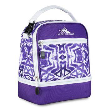 High Sierra Stacked Compartment Lunch Bag Shibori/Deep Purple/White - High Sierra Travel Coolers