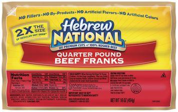 Hebrew National Beef Quarter Pound 4 Ct Franks