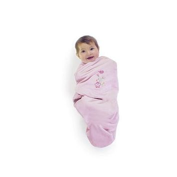 FAO Schwarz Posy Deluxe Embroidered Swadle Wrap - Pink