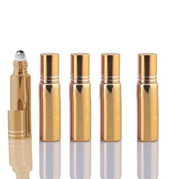10 Sets Colored 5ml UV Coated Glass Roller Ball Refillable Rollon Bottles Grand Parfums with Stainless Steel Rollers for Essential Oil, Serums, Fragrance (G