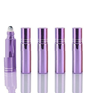 10 Sets Colored 5ml UV Coated Glass Roller Ball Refillable Rollon Bottles Grand Parfums with Stainless Steel Rollers for Essential Oil, Serums, Fragrance