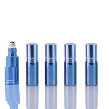 5 Sets Colored 5ml UV Coated Glass Roller Ball Refillable Rollon Bottles Grand Parfums with Stainless Steel Rollers