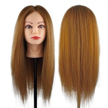 Besmall 100% Human Hair Straight Hair Hairdressing Mannequin Manikin Training Practice Heads with Clamp Holder for Styling Cutting - Light Brown 26