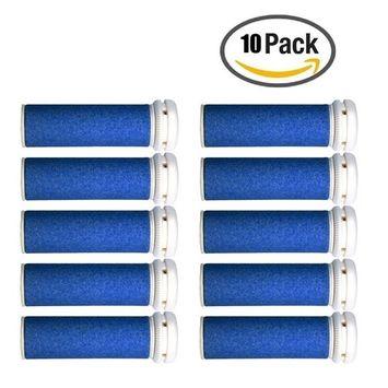 Foot Solutions Super Coarse Emjoi Micro-Pedi Refills Rollers Compatible with Emjoi Micro-Pedi Callus Remover(10 PACK-Blue)