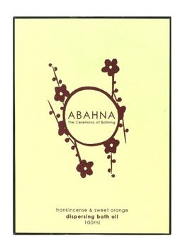 Abahna Frankincense & Sweet Orange Dispersing Bath Oil 3.4Oz/100ml In Box