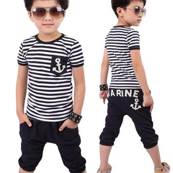 Fheaven New Summer Boys Clothing Boys Striped T-shirt And Pants Suits (Age: 4-5Y)