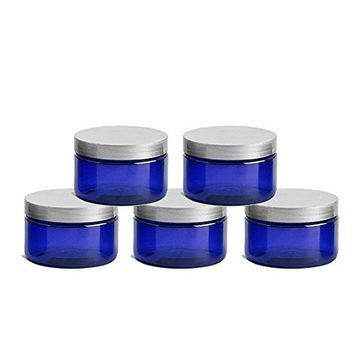 6 Cobalt Blue Low Profile 4 Oz Jars PET Plastic Empty Cosmetic Containers, Silver Caps, Sugar Scrub, Powder, Body Cream, Lotion, Beads by Grand Parfums