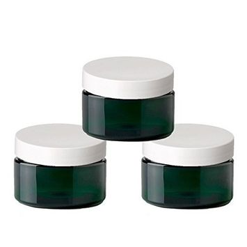 6 Emerald Green Low Profile 4 Oz Jars PET Plastic Empty Cosmetic Containers, White Caps, Sugar Scrub, Powder, Body Cream, Lotion, Beads by Grand Parfums