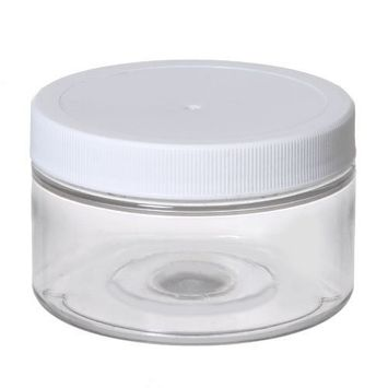 6 Clear Low Profile 4 Oz Jars PET Plastic Empty Cosmetic Containers, White Caps, Sugar Scrub, Powder, Body Cream, Lotion, Beads by Grand Parfums