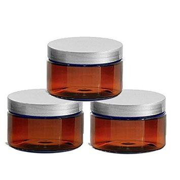 6 Amber Low Profile 4 Oz Jars PET Plastic Empty Cosmetic Containers, Silver Caps, Sugar Scrub, Powder, Body Cream, Lotion, Beads