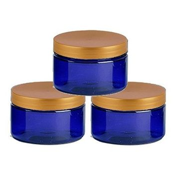 6 Cobalt Blue Low Profile 4 Oz Jars PET Plastic Empty Cosmetic Containers, Copper Caps, Sugar Scrub, Powder, Body Cream, Lotion, Beads by Grand Parfums