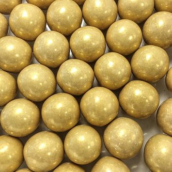 Large 1 Gold Shimmer Gumballs - 2 Pound Bags - About 120 Gumballs Per Bag - - Includes How to Build a Candy Buffet Guide [Shimmer G