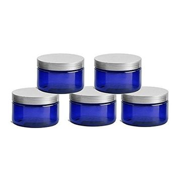 6 Cobalt Blue Low Profile 8 Oz Jars PET Plastic Empty Cosmetic Containers, Silver Caps, Sugar Scrub, Powder, Body Cream, Lotion, Beads