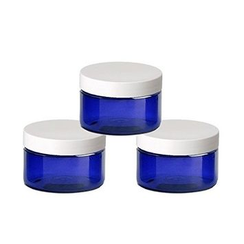 6 Cobalt Blue Low Profile 4 Oz Jars PET Plastic Empty Cosmetic Containers, White Caps, Sugar Scrub, Powder, Body Cream, Lotion, Beads by Grand Parfums