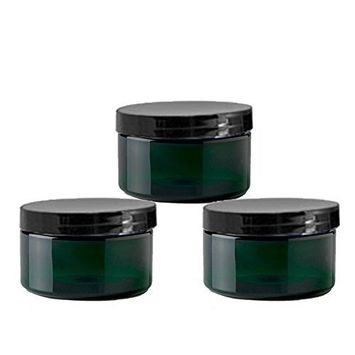 6 Emerald Green Low Profile 4 Oz Jars PET Plastic Empty Cosmetic Containers, Black Caps, Sugar Scrub, Powder, Body Cream, Lotion, Beads