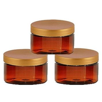 6 Amber Low Profile 4 Oz Jars PET Plastic Empty Cosmetic Containers, Copper Caps, Sugar Scrub, Powder, Body Cream, Lotion, Beads