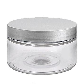 6 Clear Low Profile 4 Oz Jars PET Plastic Empty Cosmetic Containers, Silver Caps, Sugar Scrub, Powder, Body Cream, Lotion, Beads by Grand Parfums