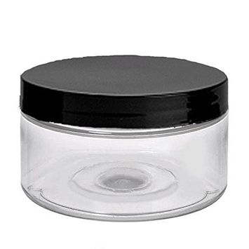 6 Clear Low Profile 4 Oz Jars PET Plastic Empty Cosmetic Containers, Black Caps, Sugar Scrub, Powder, Body Cream, Lotion, Beads