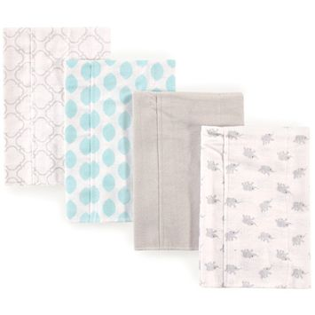 Luvable Friend Baby Boy and Girl Burp Cloths Flannel, 4-Pack - Elephants
