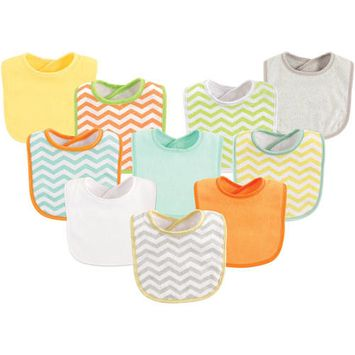 Luvable Friends Baby Boy and Girl Drooler Bibs, 10-Pack - Neutral Chevron