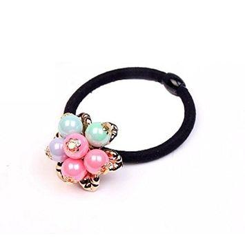 10 Pieces Pearls Flower Beaded Elastic Hair Ties Hair Band Rope Ponytail Holder