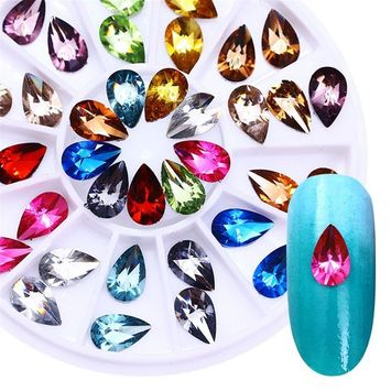 BONNIESTORE 5mmX8mm Colorful Crystal Nail Rhinestone Water Drop Flat Bottom Manicure Nail Art 3D Decoration in Wheel for Nails Arts Crafts Cellphones