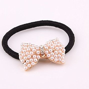 Cuhair 2pcs Full Pearl Crystal Rhinestone Design for Girl Women Hair Accessories Elastic Tie Ponytail Holders Hair Rope Rubber Bands Accessories