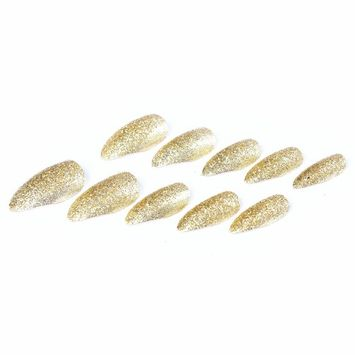 Ecbasket 24 Pcs Shinny Golden Claw Full Cover Sharp Ending Stiletto Pointed Acrylic False Nail Tips +1 Pcs Glue or 1 Pcs 20 Count Adhesive at Random For Free