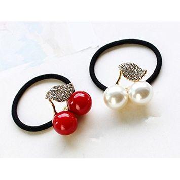 Cuhair(tm)2pcs Cherry Crystal Leaf Design,ponytail Holder Elastic Hair Tie Band Rope Scrunchie Accessories