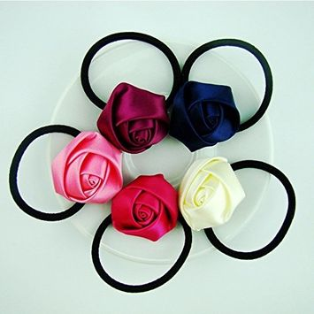 Cuhair 5pcs Rose Cloth Design Girl Women Elastic Hair Rope Elastic Ties Plastic Hair Rope Hair Headband Ponytail Holders Hair Tie Assorted Hair Accessories