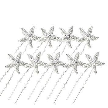 10 Pieces Rhinestone Starfish Hairpin Bridal Hair Pin Wedding U pins