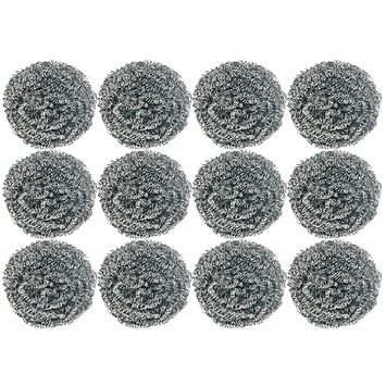 Home Products Stainless Steel Scouring Pad Kitchen Cleaners (12 Cleaners Included) Heavy Duty Steel Wool