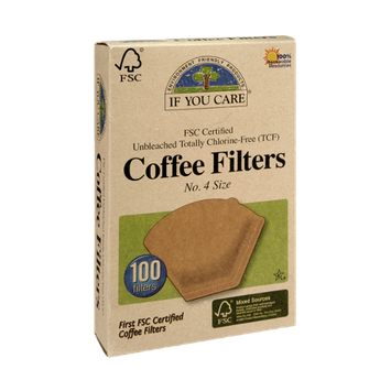 If You Care FSC Certified Unbleached Totally Chlorine-Free No. 4 Size Coffee Filters - 100 CT