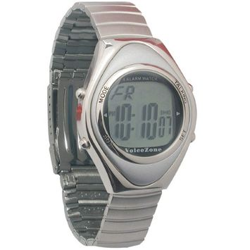 Maxiaids Oval Metal 4-Alarm Talking Watch - Spanish