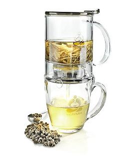 Teavana PerfecT Tea Maker 16oz Perfect Cup Drain Mechanism Home Office Tea White