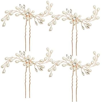 Hapdoo Golden Rose Wedding Hair Pins Brides Crystal hair Clips U Shaped Hair Accessories for Party
