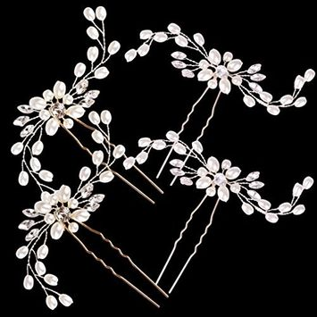 Hapdoo Silver Wedding Hair Pins Brides Crystal hair Clips U Shaped Hair Accessories for Party