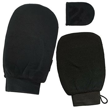 Self Tanner Mitt Kit with Exfoliating Mitt for pre self tanning application and Face and Body Soft Applicator Mitts, designed to prevent leaking on hands