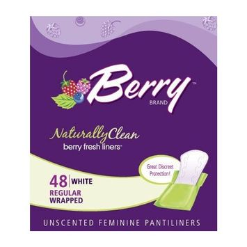 Berry Pantiliner, Regular, Unscented, 48-Count, Wrapped