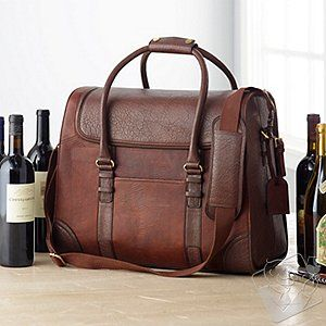 Other 6-Bottle Leather Weekender Wine Bag with Hang Tag