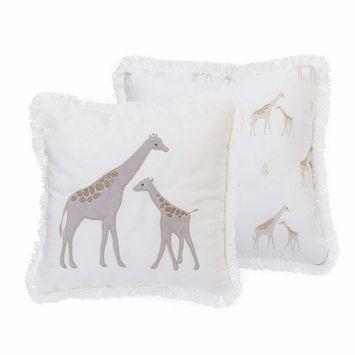 NoJo Serendipity, Ivory Giraffe Decorative Pillow, Ivory/Taupe/Grey