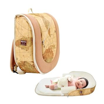 Nuvo Portable Crib Bag Diaper Backpack Gold Map