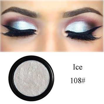 SMYTShop Single Baked Eye Shadow Glitter Eyeshadow Powder Palette in Shimmer for Professional Makeup or Daily Use 24 Metallic Colors Optional (108# Ice)