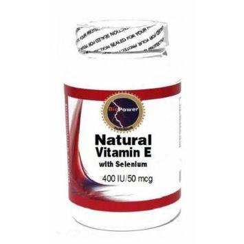Natural Vitamin E with Selenium 400 IU/50 mcg 200 Capsules # BioPower Nutrition