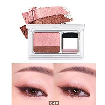 Alonea Shimmer Matte Eyeshadow, Shimmer Two Color Stamp Eyeshadow Palette Makeup Powder Flexibility Lasting (04#)