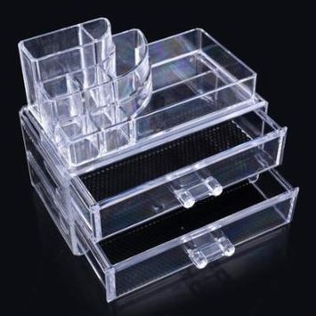 2-Tier Clear Acrylic Makeup Cosmetics Cases Makeup Organizer TPBY