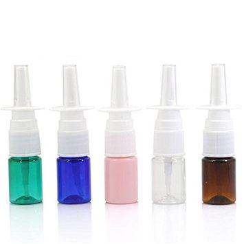 erioctry 6PCS 5ML Empty Refillable Portable Plastic Nasal Spray Bottles Container Jar Pot Perfume Liquid Pump Sprayer Color Random